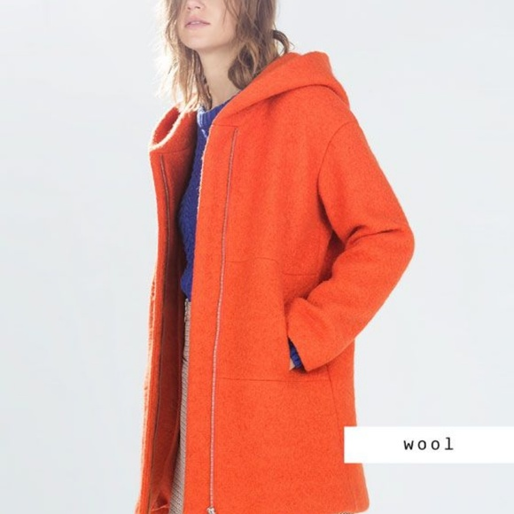 0eb2c705 Zara Jackets & Coats | Orange Long Wool Coat Boucle Hooded | Poshmark